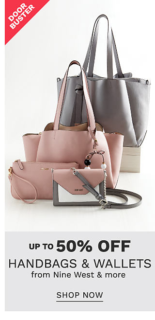 A pink, gray & white colorblock crossobody wallet, a pink clutch, a pink tote & a gray tote. DoorBuster. Up to 50% off handbags & wallets from Nine West & more. Shop now.