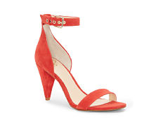 A red leather strappy pump. Shop heels.