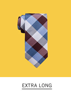 A blue, white and brown plaid tie. Shop extra long.