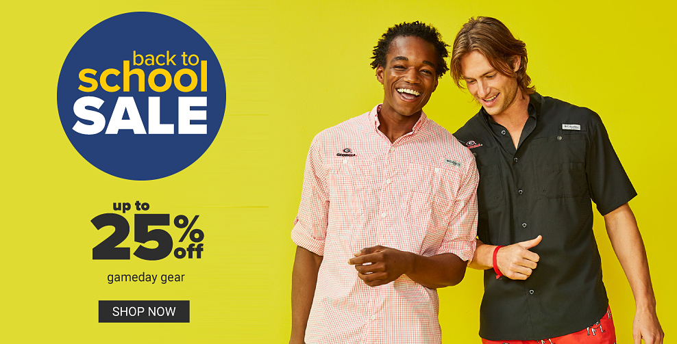 A man in a orange and white plaid button front shirt next to a man in a navy button front shirt. Back to scool sale. Up to 25% off gameday gear. Shop now.
