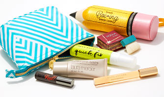 An assortment of travel-sized beauty and fragrance must-haves and fun makeup bags.