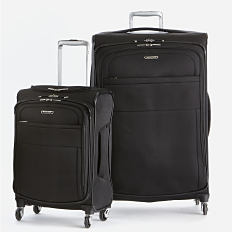 2 black rolling suitcases. Shop luggage.