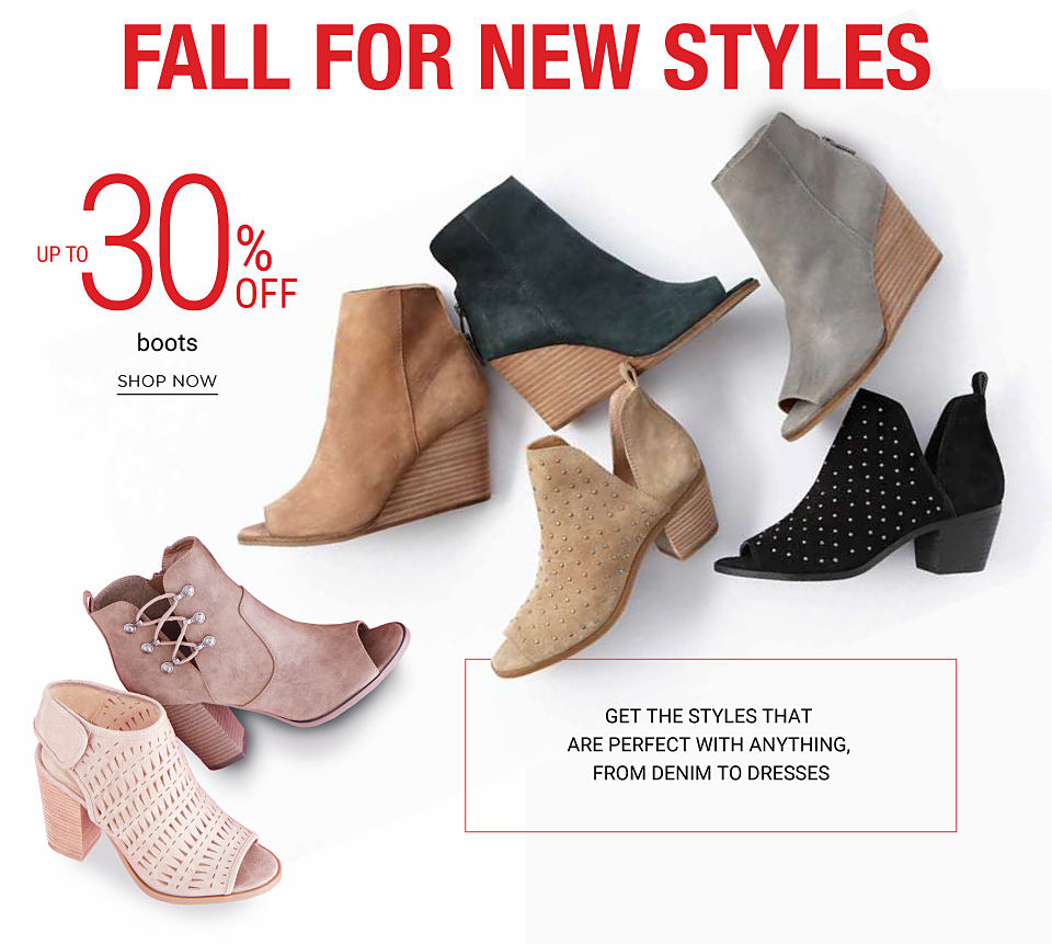 An assortment of young contemporary shoes. Get the styles that are perfect with anything, from denim to dresses. Up to 30% off young contemporary boots and shoes. Shop now.