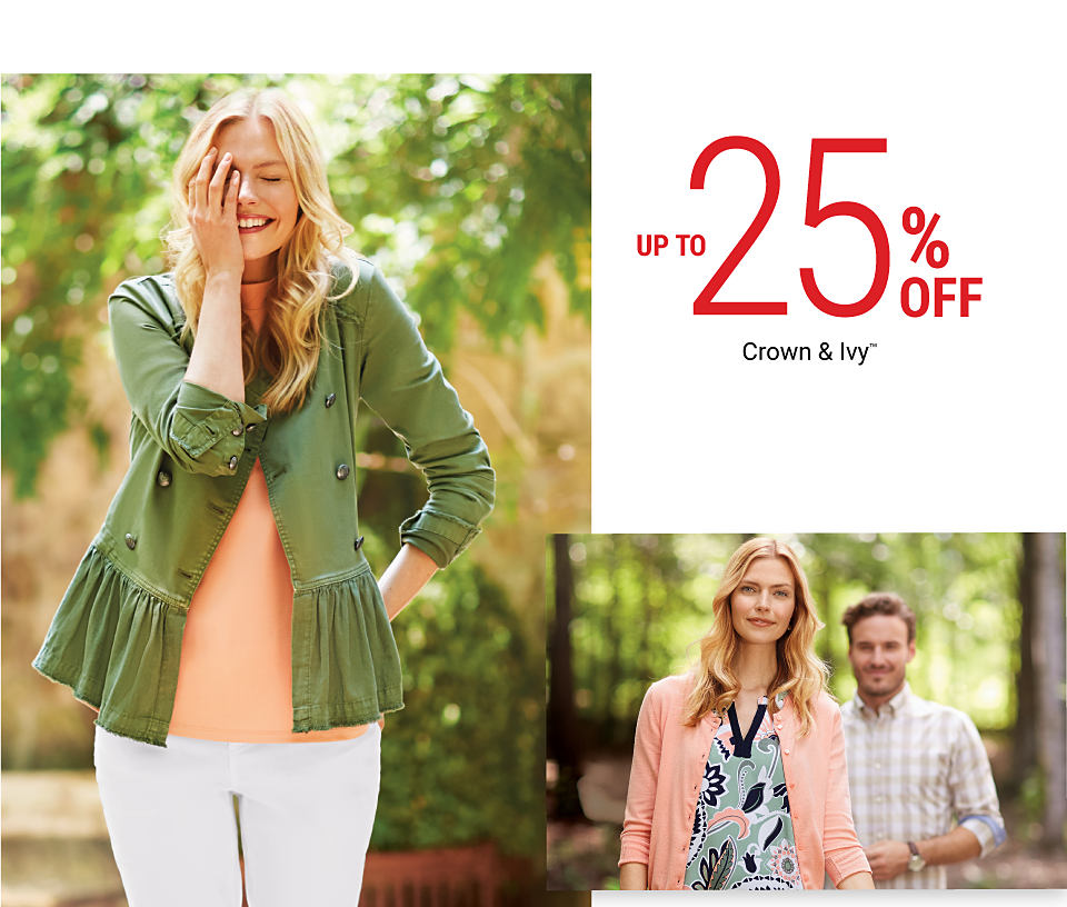 A woman wearing a green jacket, a peach top and white pants. A woman wearing a peach cardigan over a multi-colored print top standing next to a man wearing a plaid shirt. Fall for New Styles. Up to 25% off Crown & Ivy. Shop women. Shop petites. Shop curvy.
