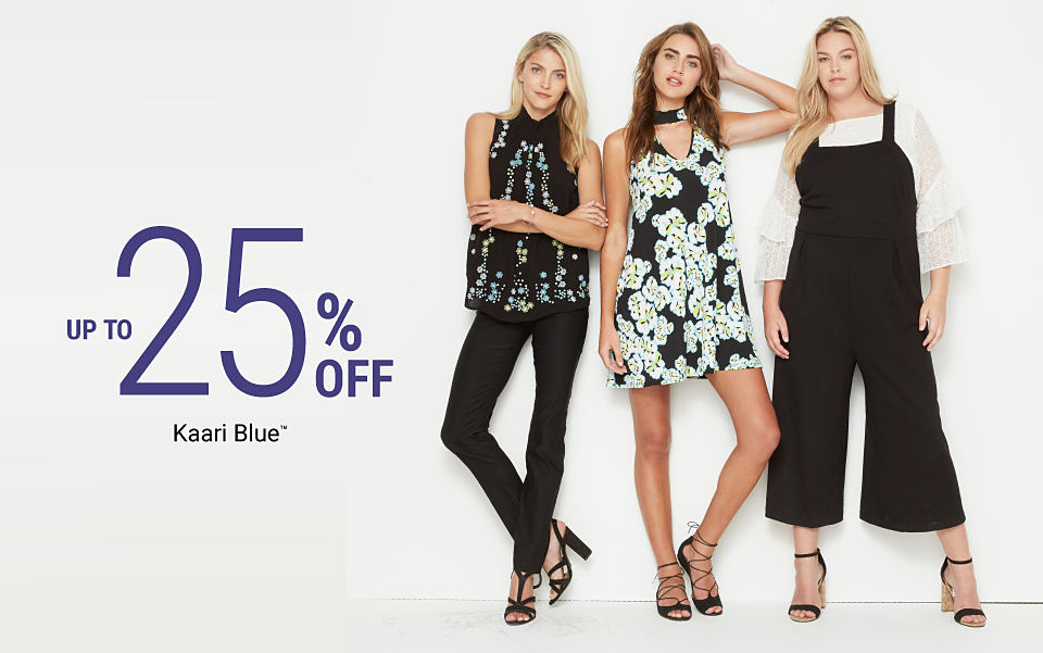 3 women wearing various styles from Kaari Blue. Up to 25% off Kaari Blue. Shop women. Shop curvy.