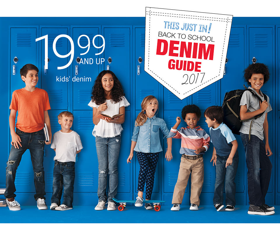 Boys and girls wearing various denim styles in front of a wall of blue lockers. Kids' denim. 19.99 and up. Shop girls. Shop boys.