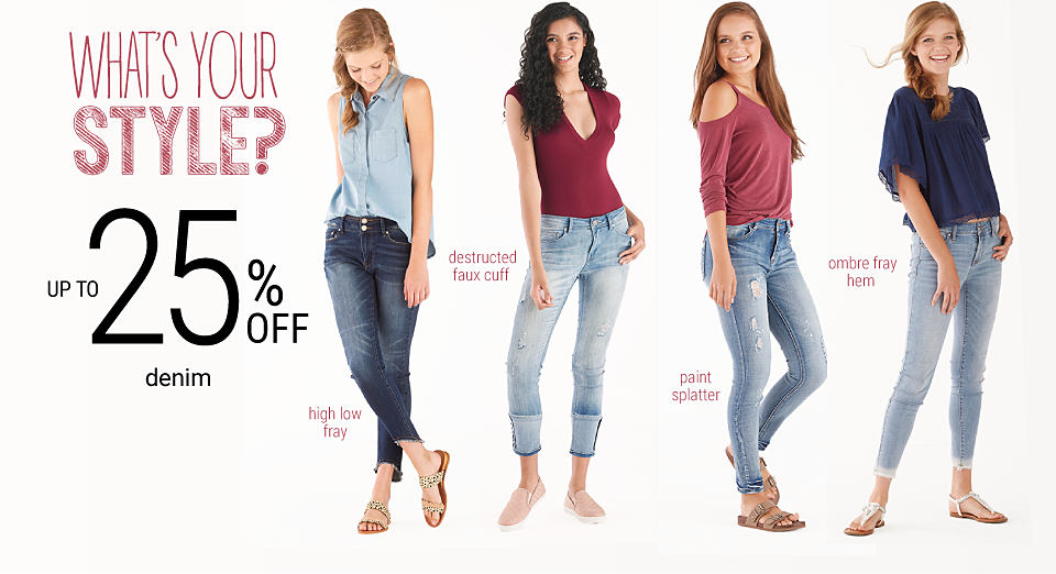 4 young women wearing various styles of denim. Up to 25% off denim. Shop juniors. Shop juniors' plus.