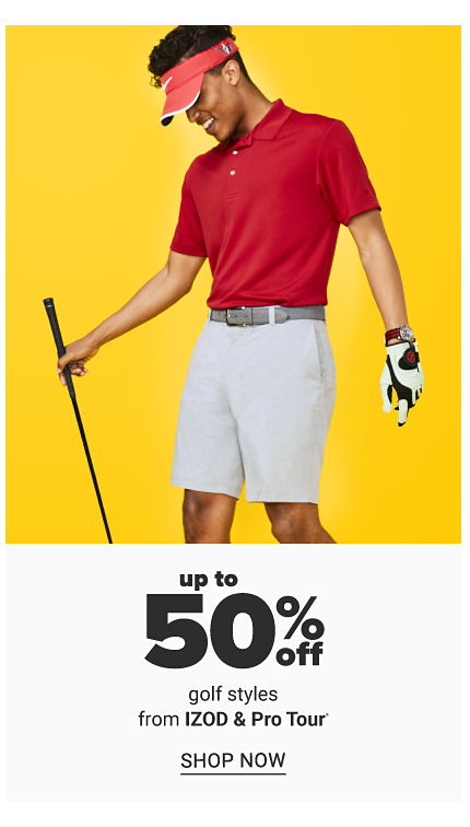 A man wearing a red sun visor, red polo & beige shorts. Up to 50% off golf styles from Izod & Pro Tour. Shop now.
