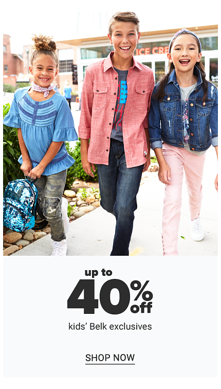 A girl wearing a blue & light blue short sleeved top standing next to a girl wearing a coral long sleeved button front blouse over a gray tee with a red & blue fron graphic & a girl wearing a denim jacket over a gray tee with a blue & red front graphic. Up to 40% off kids' Belk exclusives. Shop now.