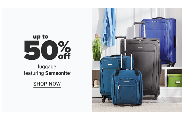 An assortment of black & blue wheeled suitcases. Up to 50% off luggage featuring Samsonite. Shop now.