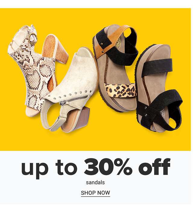 An assortment of women's sandals in a variety of colors & styles. Up to 30% off sandals. Shop now.