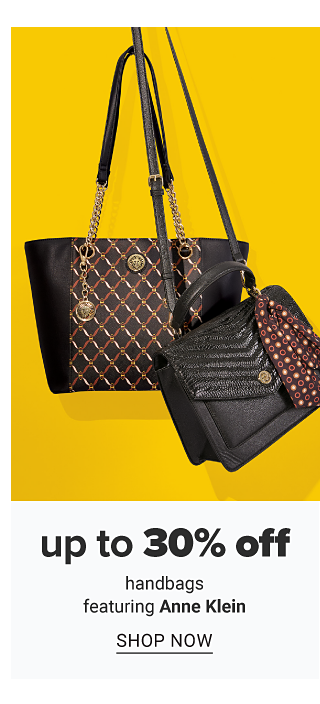 A black leather bucket tote with gold side detail & a black leather handbag. Up to 30% off handbags featuring Anne Klein. Shop now.
