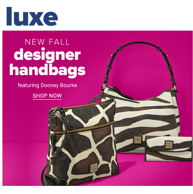 An assortment of brown & white animal print handbags & wallets. New fall designer handbags featuring Dooney & Bourke. Shop now.