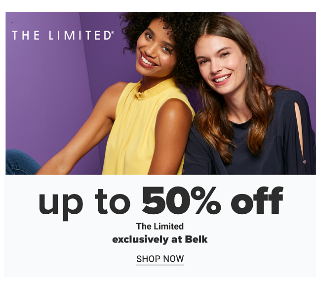 A young woman wearing a sleeveless yellow top sitting next to a young woman wearing a black long sleeved top. Up to 50% off The Limited. Exclusively at Belk. Shop now.