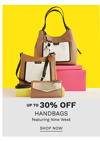 A brown & white leather colorblock wallet, a brown & white leather colorblock handbag with brown leather strap & a brown & white leather colorclock tote with brown leather strap. Up to 30% off handbags featuring Nine West. Shop now.