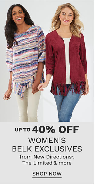 A woman wearing a burgundy open front sweater with fringe hem trim & denim capris standing next to a woman wearing a multi colored horizontal striped short sleeved top & beige capris. Up to 40% off women's Belk exclusives from New Directions & The Limited. Shop now.