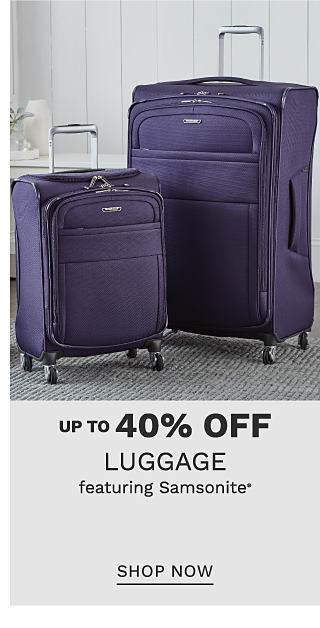 A purple 3 piece wheeled luggage set. Up to 40% off luggage featuring Samsonite. Shop now.
