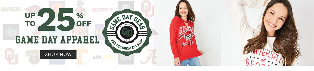 A young woman wearing a red, white & black Georgia Bulldogs sweatshirt & blue jeans. A young woman wearing a white, red & blue University of Georgia sweatshirt. Game Day Gear for the Greatest Fans. Up to 25% off Game Day Apparel. Shop now.