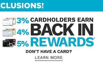 Cardholders earn 3% back in rewards with Belk Rewards credit card, 4% back in rewards with Belk Premier credit card & 5% back in rewards with Belk Elite credit card. Don?t have a card? Learn more.