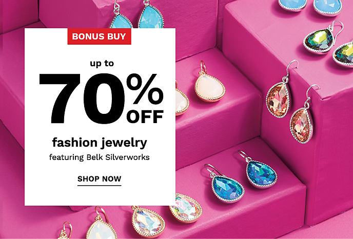 An assortment of colorful gem earrings. Bonus Buy. Up to 70% off fashion jewelry, featuring Belk Silverworks. Shop now.