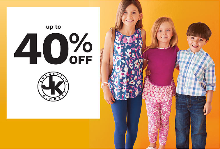 Two girls and a boy wearing various styles of J Khaki mix and match kids' styles. Up to 40% off J Khaki. Shop girls. Shop boys.