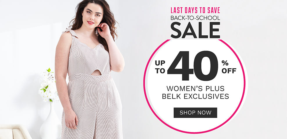 A woman wearing a light beige sleeveless jumpsuit. Last Days to Save. Back to School Sale. Up to 40% off women's plus Belk exclusives. Shop now.