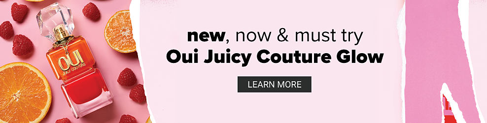 A bottle of women's fragrance surrounded by orange slices & raspeberries. New, now & must try. Oui Juicy Couture Glow. Learn more.