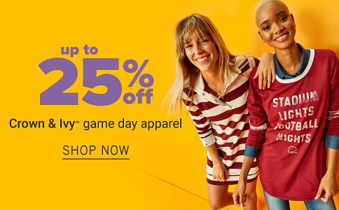 A young woman in an orange graphic tee and jeans standing with a young woman wearing an orange and white graphic tee and jeans. Up to 25% off gameday gear. Shop now.