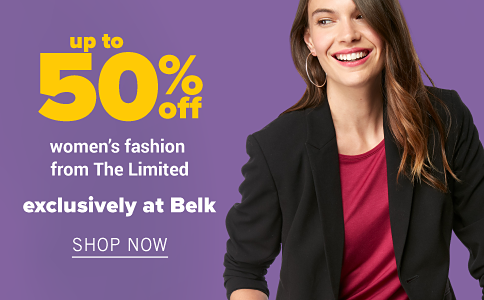 A woman in a red shirt and a black blazer. Up to 50% off women's fashion from The Limited exclusively at Belk. Shop now.