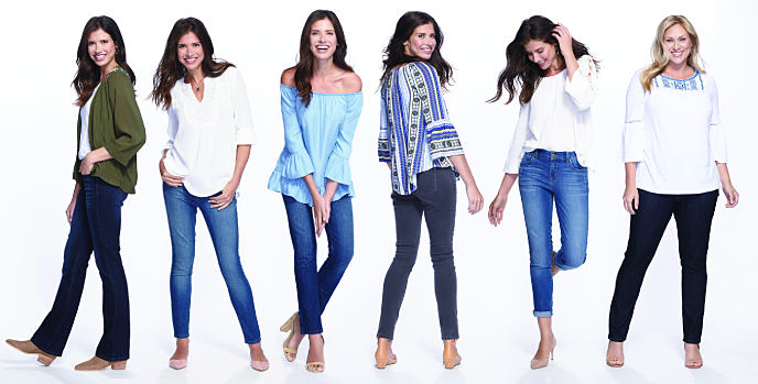 Six women wearing various styles of jeans and tops. Jeans for every casual ocasion. Shop now.