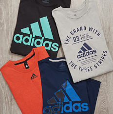 An assortment of graphic tees. Shop activewear.