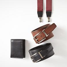 An assortment of suspenders, belts & wallets. Shop accessories.