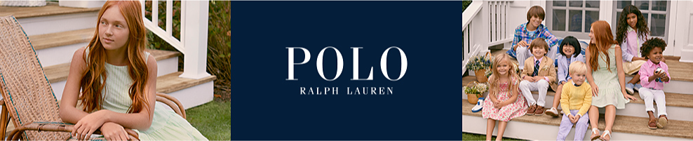 A girl wearing a light green sleeveless dress. A group of children wearing a variety of Ralph Lauren outfits. Polo Ralph Lauren. Spring starts here. In blooming floral prints and a palette of fresh pastels, fresh dresses, refined oxfords, and lightweight knits are ready for every occasion this season.