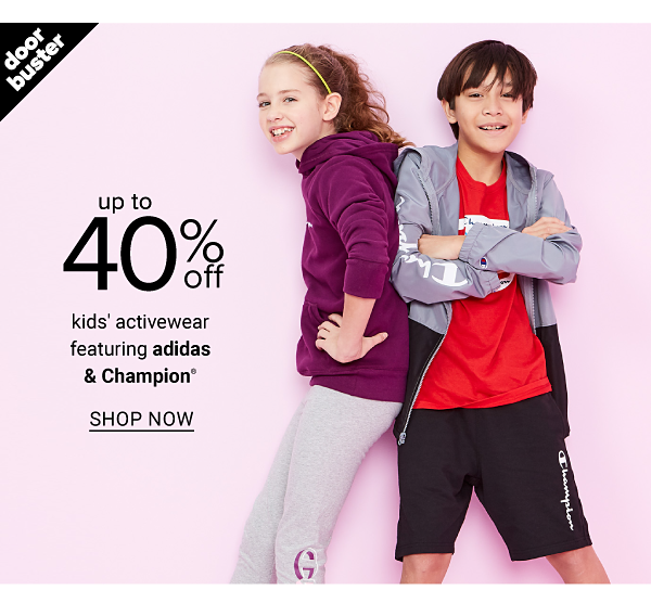 Up to 40% off Kids' Activewear featuring adidas & Champion - Shop Now
