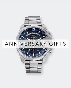 A silver metal men's watch with a black dial. Anniversary Gifts. Shop now