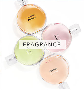 4 different colors of Chanel fragrance bottles. Fragrance. Shop now.