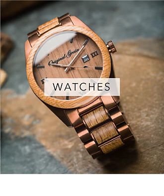 A brown wood & metal Original Grain men's watch. Watches. Shop now.