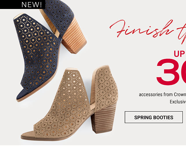 A black suede bootie with cutout detail. A beige suede bootie with cutout detail. A pink clutch. An assortment of gold & pearl fine jewelry. A small bouqet of floWers. Finish The Look. Up to 30% off asccessories from Crown & Ivy, Kaari Blue & more. Exclusively at Belk. Shop spring booties.