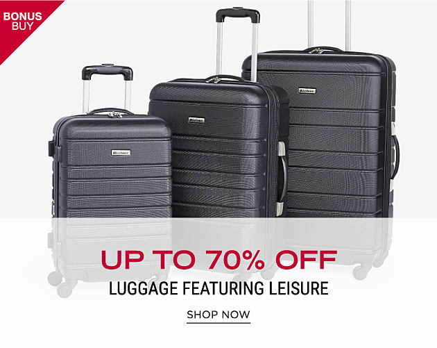 A 3 piece hardside luggage set. Bonus Buy. Up to 70% off luggage featuring Leisure. Shop now.