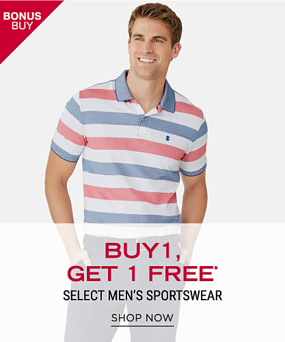 A man wearing a coral, denim blue & white horizontal striped polo & blue jeans. Bonu Buy. Buy 1, GEt 1 Free select men's sportswear. Free item must be of equal or lesser value. Shop now.