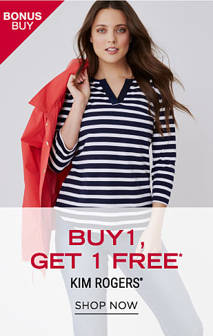 A woman wearing a black & white horizontal striped long-sleeved V-neck top & blue jeans with a red jacket draped over her shoulder. Bonus Buy. Buy 1, Get 1 Free Kim Rogers. Free item must be of equal or lesser value. Shop now.