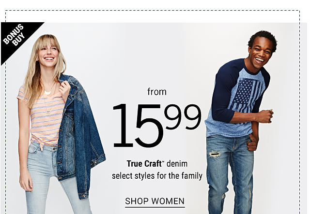 A young woman wearing a multi colored horizontal striped short sleeved top, faded jeans & white sneakers with a denim jacket draped over her shoulder. A young man wearing a navy & light blue jersey with a distressed American flag front graphic, blue jeans & white sneakers. Bonus buy. From $15.99. Select True Craft denim styles for the family. Exclusively at Belk. Shop women.