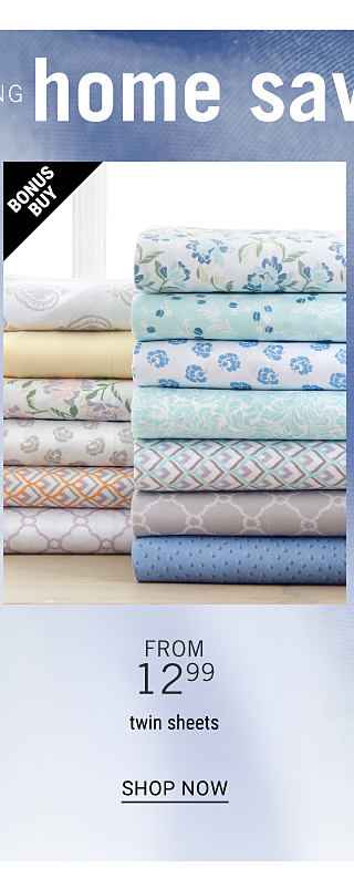 Two stacks of folded bed sheets in a variety of colors & prints. Bonus Buy. From $12.99. twin sheets. Shop now.