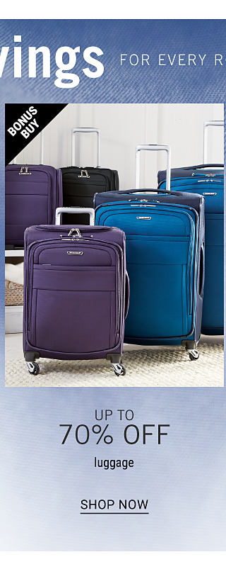 Two blue wheeled suitcases, two purple wheeled suitcases & a black wheeled suitcase. Bonus buy. Up to 70% off luggage. Shop now.