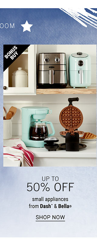 Two different styles of air fryers on a shelf above a coffee maker & a waffle iron. Up to 50% off small appliances from Dash & Bella. Shop now.
