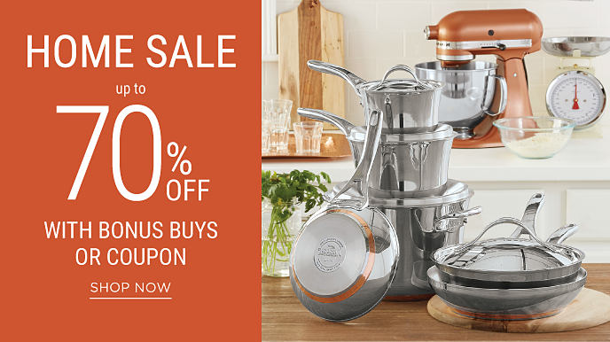 A kitchen stocked with pots, pans, copper storage containers and a KitchenAid mixer. September Home Sale. Save up to 70% with Bonus Buys or coupon. Shop now.