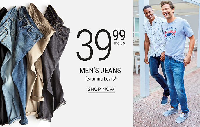An assortment of men's Levi's denim jeans. 2 men walking together wearing Levi's jeans and casual tops. Men's Jeans featuring 39.99 Levi's. Shop now.