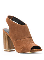 A brown suede chunky heeled sandal. Shop heels.
