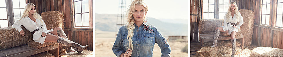 A woman wearing a white long sleeved belted dress & knee high snakeskin boots. A woman wearing a denim jacket with rose embroidery shoulder detail. A woman wearing a white long sleeved belted dress & knee high snakeskin boots. Jessica Simpson. Authentic to Jessica Simpson. the collection celebrates being a woman, fashion & styling.