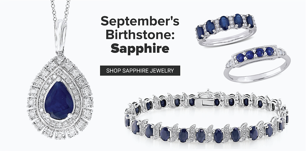 A variety of white gold sapphire jewelry. September's birthstone, sapphire. Shop sapphire jewelry.